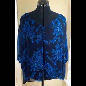 Blue Floral Express Blouse with Butterfly Sleeves